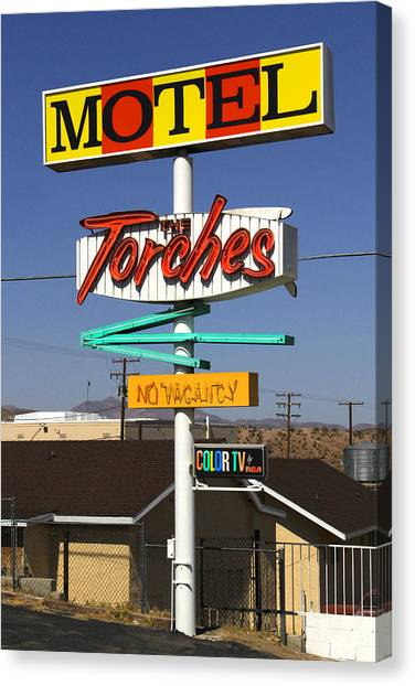 Historic Route 66 Canvas Print - Torches Motel  by Mike McGlothlen