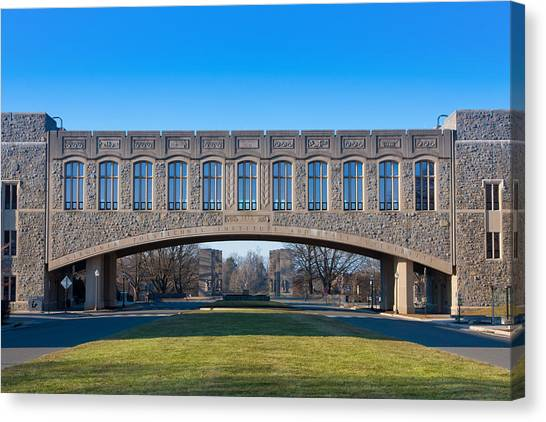 Virginia Polytechnic Institute And State University Virginia Tech Canvas Print - Torgersen Hall At Virginia Tech by Melinda Fawver