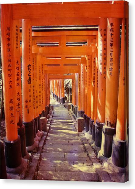 Architectural Detail Canvas Print - Torii Gates At The Fushimi Inari Shrine by Juli Scalzi