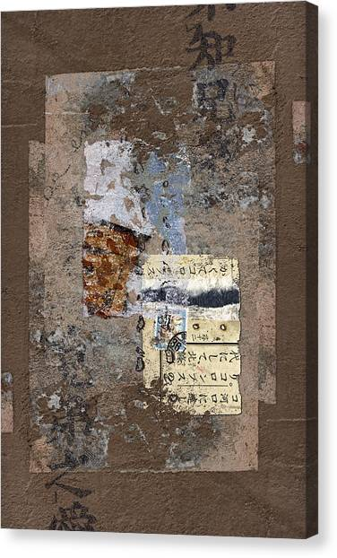 Torn Paper Collage Canvas Print - Torn Papers On Wall by Carol Leigh