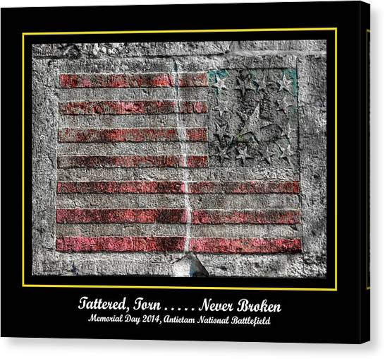 Tattered Torn . . . . . Never Broken - Memorial Day 2014 Antietam National Battlefield Canvas Print