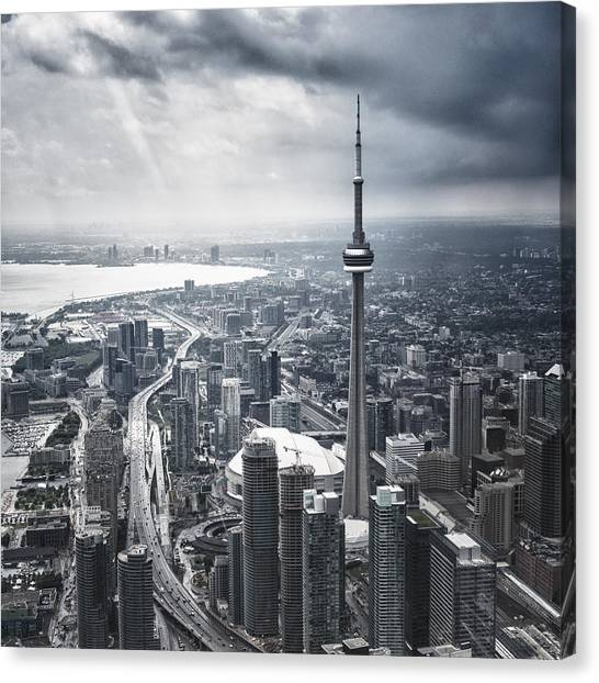 Toronto Aerial View During A Storm Canvas Print by Franckreporter