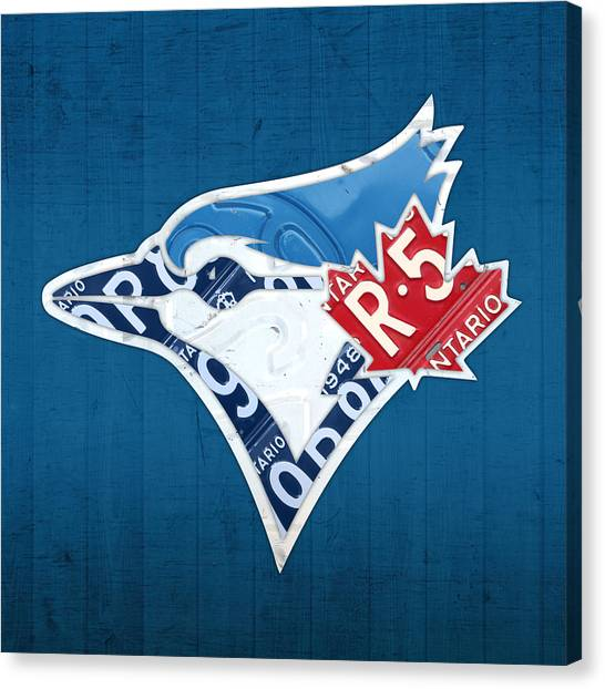 Baseball Teams Canvas Print - Toronto Blue Jays Baseball Team Vintage Logo Recycled Ontario License Plate Art by Design Turnpike