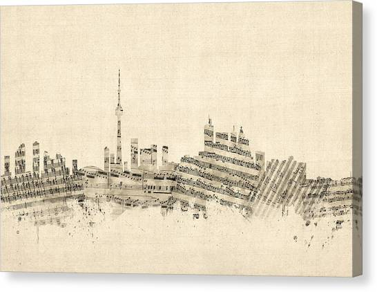 Toronto Skyline Canvas Print - Toronto Canada Skyline Sheet Music Cityscape by Michael Tompsett