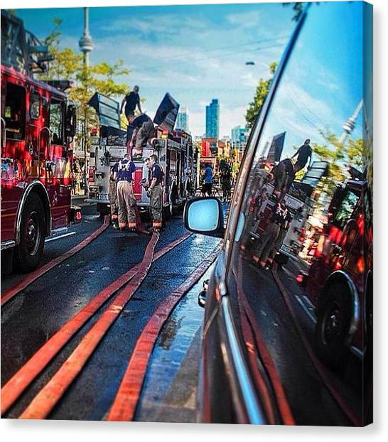 Firefighters Canvas Print - Toronto Fire #torontofire #firefighter by Bruce Wang