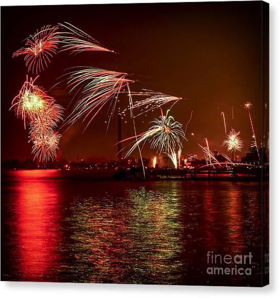 Fireworks Canvas Print - Toronto Fireworks by Elena Elisseeva