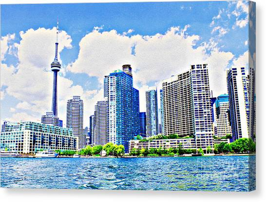 Toronto Fc Canvas Print - Toronto Harbour On A Sunny Day by Nina Silver