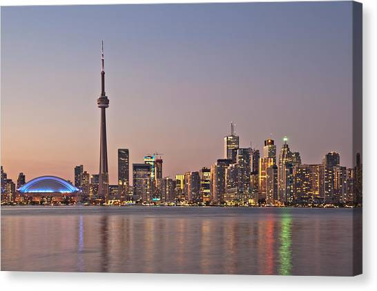 Toronto Night Skyline Tower Downtown Skyscrapers Sunset Canad Canvas Print