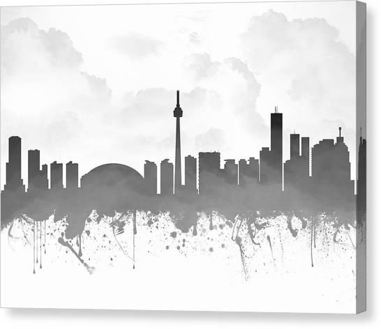 Toronto Skyline Canvas Print - Toronto Ontario Skyline - Gray 03 by Aged Pixel