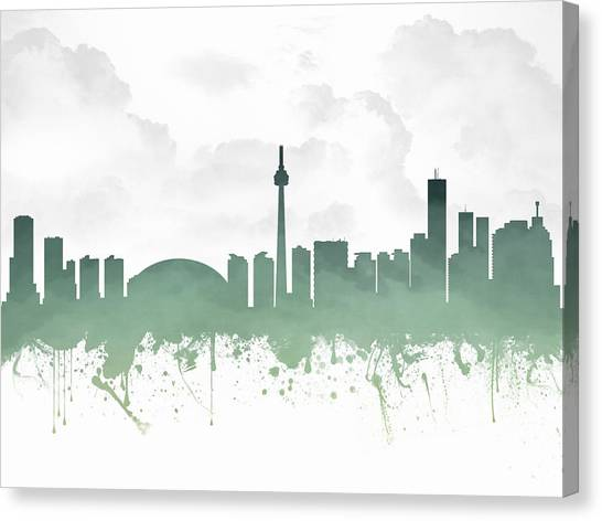 Toronto Skyline Canvas Print - Toronto Ontario Skyline - Teal 03 by Aged Pixel