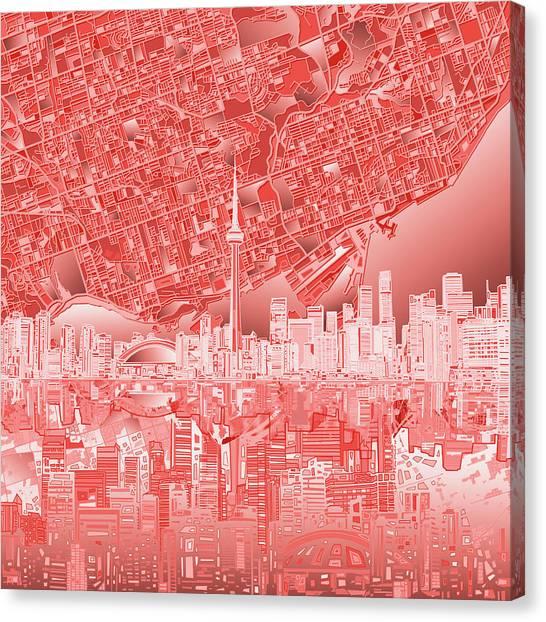 Toronto Skyline Canvas Print - Toronto Skyline Abstract 3 by Bekim Art