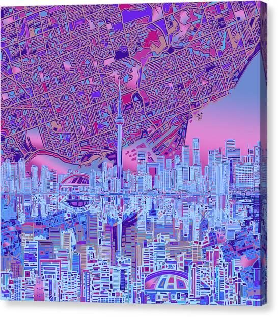Toronto Skyline Canvas Print - Toronto Skyline Abstract 8 by Bekim Art