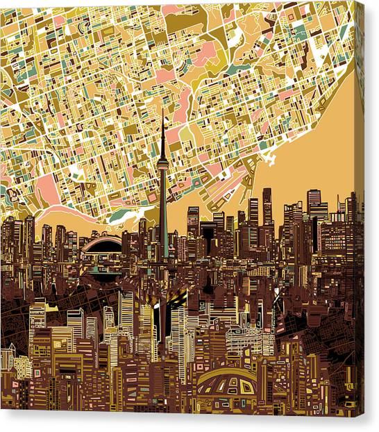 Toronto Skyline Canvas Print - Toronto Skyline Abstract 9 by Bekim Art