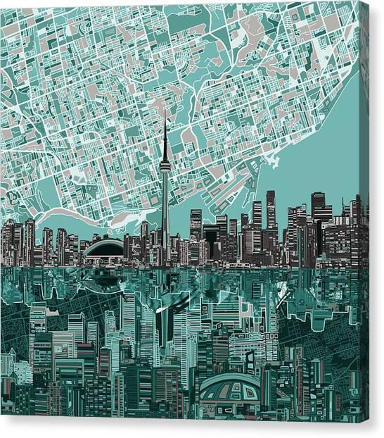 Toronto Skyline Canvas Print - Toronto Skyline Abstract by Bekim Art