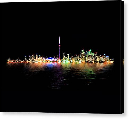 Toronto Skyline At Night From Centre Island Reflection Canvas Print