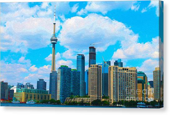 Toronto Fc Canvas Print - Toronto Skyline In Summer by Nina Silver