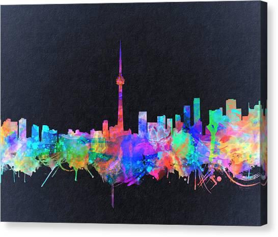 Toronto Skyline Canvas Print - Toronto Skyline Watercolor 2 by Bekim Art