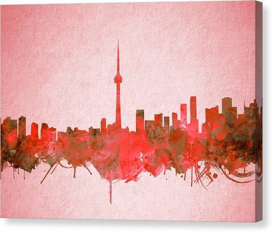 Toronto Skyline Canvas Print - Toronto Skyline Watercolor 4 by Bekim Art