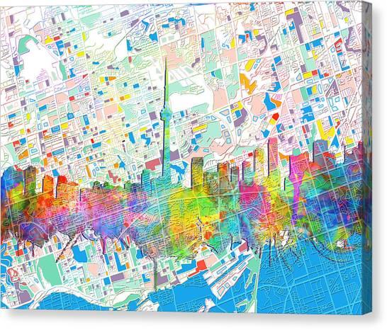 Toronto Skyline Canvas Print - Toronto Skyline Watercolor 5 by Bekim Art