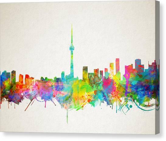 Toronto Skyline Canvas Print - Toronto Skyline Watercolor by Bekim Art