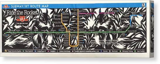 Toronto Subway Map Squirrels Canvas Print