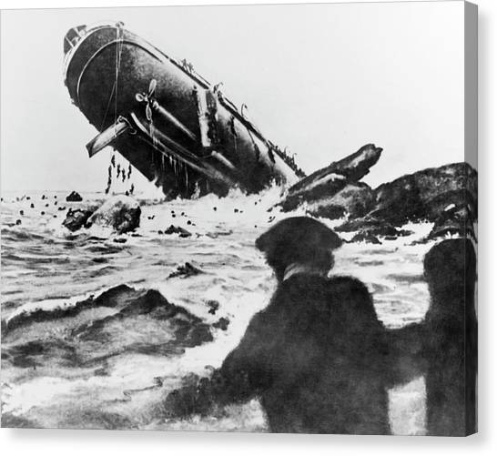 Drown Canvas Print - Torpedoed Ship In World War I by Us Navy/science Photo Library