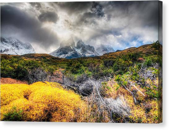 Torres Del Paine Peaks Canvas Print by Roman St