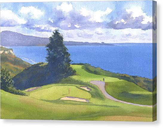 Golf Canvas Print - Torrey Pines Golf Course North Course Hole #6 by Mary Helmreich