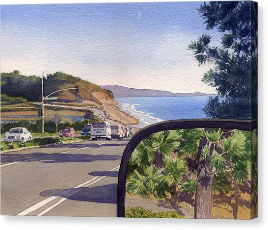 Planets Canvas Print - Torrey Pines In Sideview Mirror by Mary Helmreich