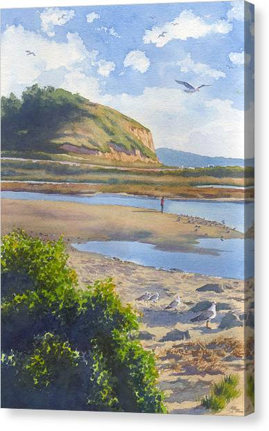 Seagulls Canvas Print - Torrey Pines Inlet by Mary Helmreich
