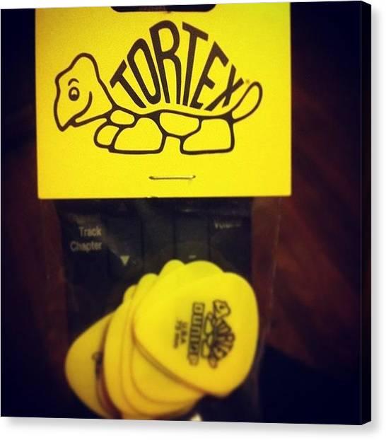 Guitar Picks Canvas Print - #tortex #picks #guitar #yellow #turtle by Eddie Mendez