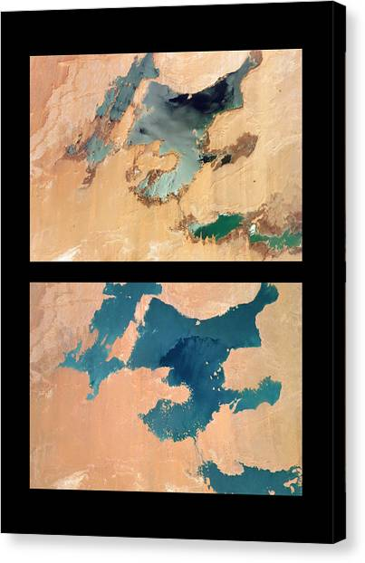 Sahara Desert Canvas Print - Toshka Lakes Drying by Nasa/science Photo Library
