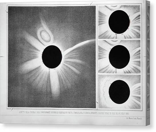 Solar Eclipse Canvas Print - Total Solar Eclipse Of 18 July 1860 by Royal Astronomical Society