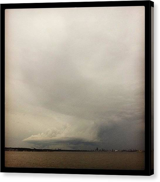 Tornadoes Canvas Print - Totally Creepy Funnel Cloud Near by Aimar R
