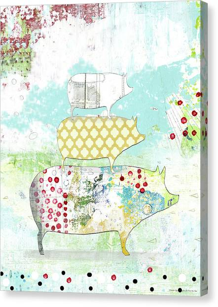 Pig Farms Canvas Print - Totem Pig 2 by Sarah Ogren