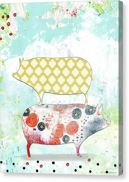 Pig Farms Canvas Print - Totem Pigs by Sarah Ogren
