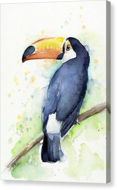 Tropical Birds Canvas Print - Toucan Watercolor by Olga Shvartsur