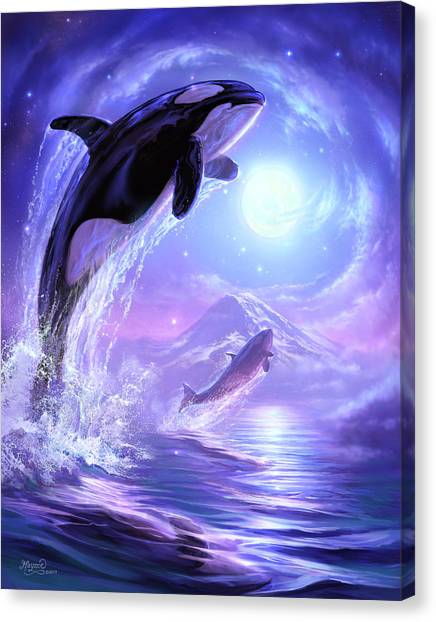 Orcas Canvas Print - Touch The Sky by Jeff Haynie