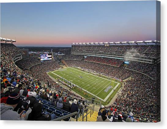 Patriot League Canvas Print - Touchdown New England Patriots  by Juergen Roth