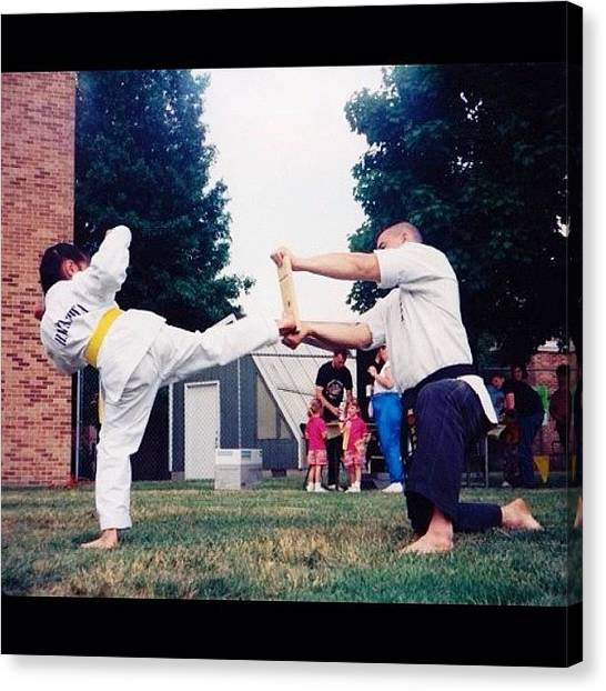 Taekwondo Canvas Print - Toughhhh Haha. #tbt #throwback by Lindsay B