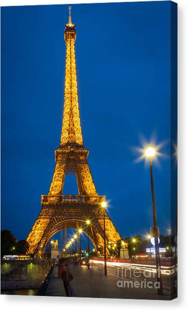 Europa Canvas Print - Tour Eiffel De Nuit by Inge Johnsson