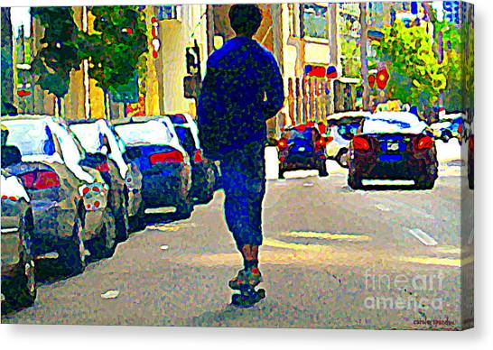 Rollerblading Canvas Print - Touring Montreal On Wheels Inline Skater Downtown Traffic Roller Blading Summer City Scenes Cspandau by Carole Spandau