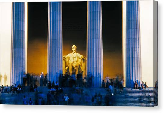 Lincoln Memorial Canvas Print - Tourists At Lincoln Memorial by Panoramic Images