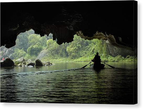 Limestone Caves Canvas Print - Tourists In Cave On Tam Coc, Ngo Dong by David Wall