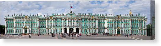 State Hermitage Canvas Print - Tourists In Front Of Winter Palace by Panoramic Images