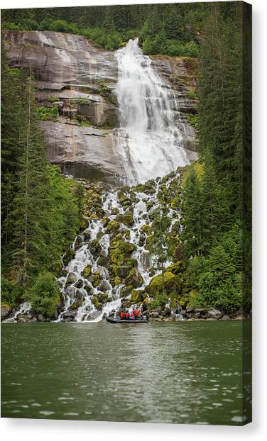 Tongass National Forest Canvas Print - Tourists In Zodiac Boat Visit by Erika Skogg
