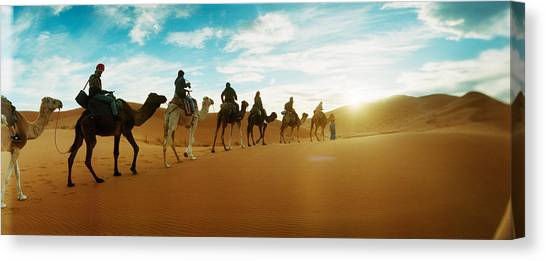 Sahara Desert Canvas Print - Tourists Riding Camels by Panoramic Images