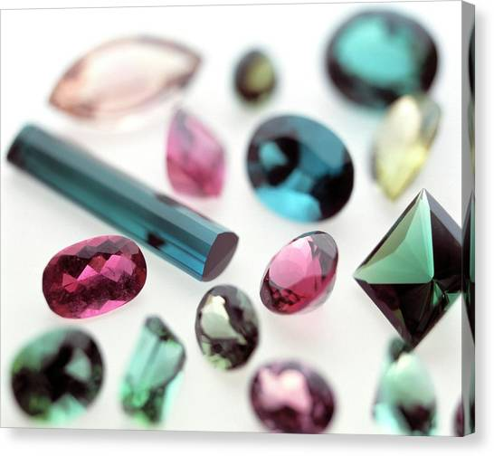 Tourmaline Gemstones Canvas Print by Lawrence Lawry/science Photo Library