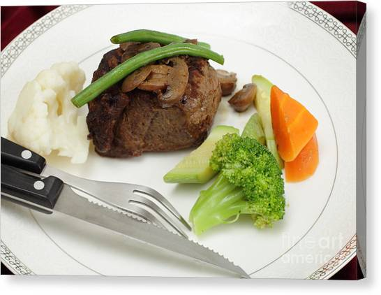 Fillet Canvas Print - Tournedos Meal With Cutlery by Paul Cowan