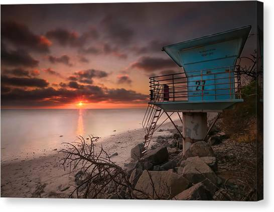 Lifeguard Canvas Print - Tower 27 by Larry Marshall